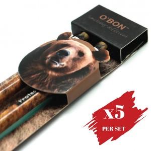 5x pcs set of Greencious 2B OBN Wildlife 2's Bear