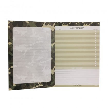 Camo Green Busy Army NotePad